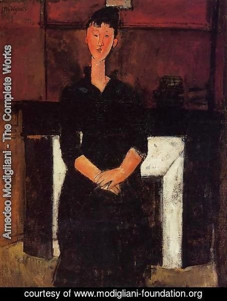 Amedeo Modigliani - Woman Seated in front of a Fireplace