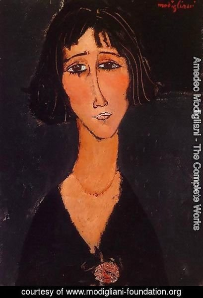 Amedeo Modigliani - Young Girl Wearing a Rose