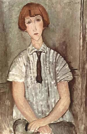 Amedeo Modigliani - Young Girl in a Striped Blouse