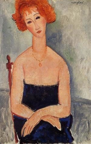 Amedeo Modigliani - Readhead Wearing a Pendant