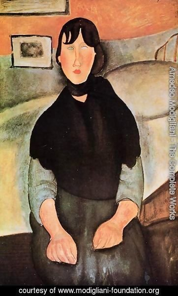 Amedeo Modigliani - Dark Young Woman Seated by a Bed