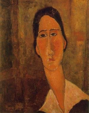 Amedeo Modigliani - Jeanne Hebuterne with White Collar