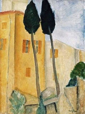 Amedeo Modigliani - Cypress Trees and Houses, Midday Landscape