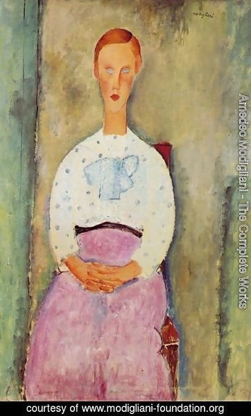 Amedeo Modigliani - Girl with a Polka-Dot Blouse