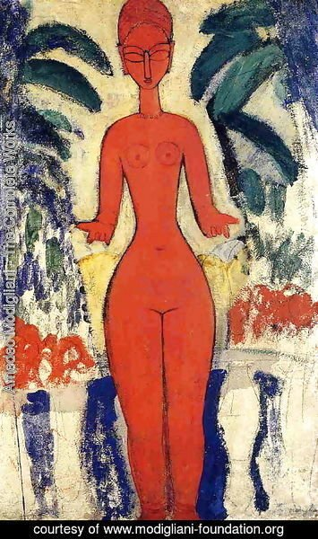 Amedeo Modigliani - Standing Nude with Garden Background