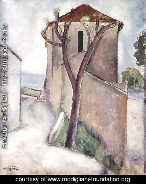 Amedeo Modigliani - Tree and Houses