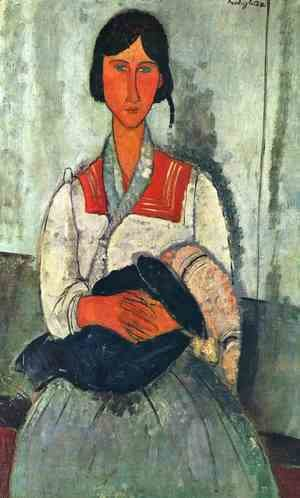 Amedeo Modigliani - Gypsy Woman with Baby