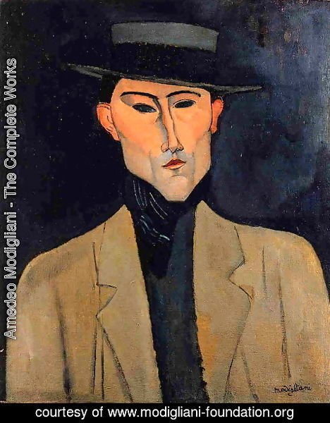 Amedeo Modigliani - Portrait of a Man with Hat (aka Jose Pacheco)