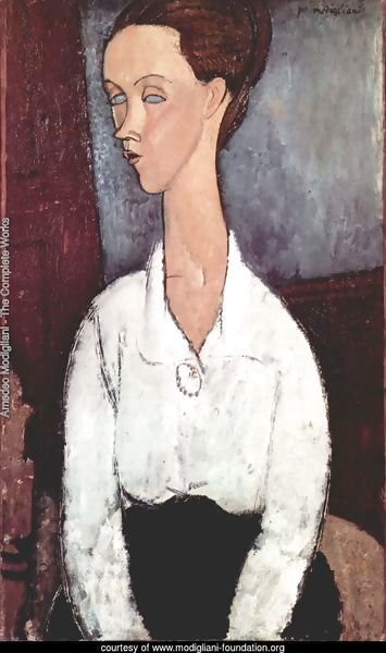Portrait of Lunia Czechowska with white blouse