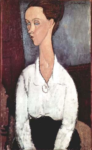 Amedeo Modigliani - Portrait of Lunia Czechowska with white blouse