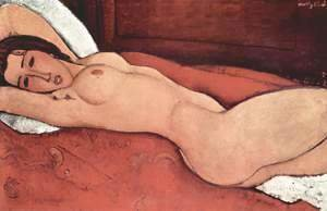 Amedeo Modigliani - Recumbent act with arms crossed behind the head