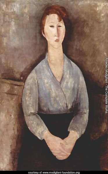 Seated Woman with a blue blouse