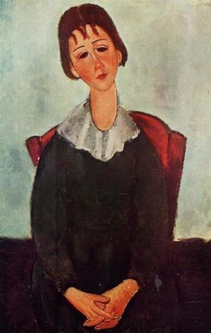 Amedeo Modigliani - Girl on a Chair (aka Mademoiselle Huguette) 1918