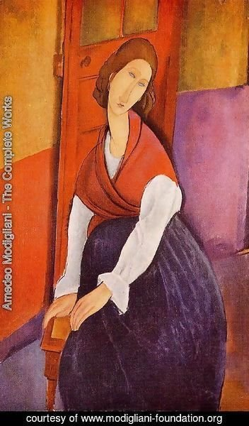 Amedeo Modigliani - Jeanne Hebuterne (aka In Front of a Door) 1919