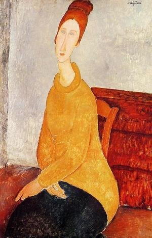 Amedeo Modigliani - Yellow Sweater (aka Portrait of Jeanne Hebuterne) 1919