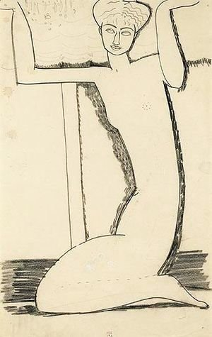 Amedeo Modigliani - Cariatide Agenouillee, Assise Sur Ses Talons