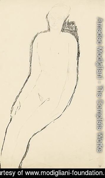 Amedeo Modigliani - Nu Assis, De Trois-Quarts, Bras Le Long Du Corps