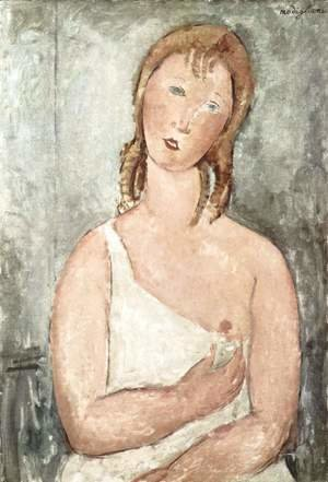 Amedeo Modigliani - Girl (Giovana Rossa) in the shirt