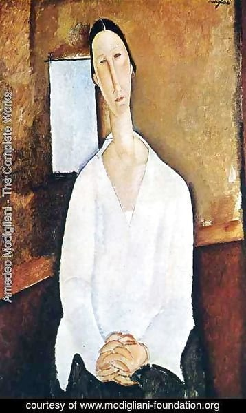 Amedeo Modigliani - Madame Zborowska with clasped hands