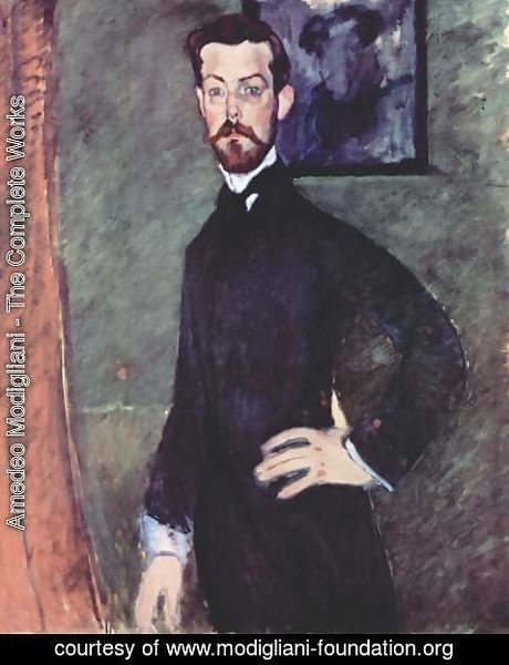 Amedeo Modigliani - Portrait Of Paul Alexandre Against A Green Background