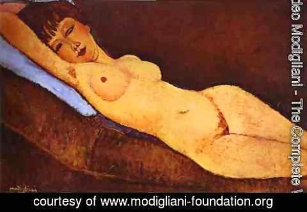 Amedeo Modigliani - Reclining Nude With Blue Cushion