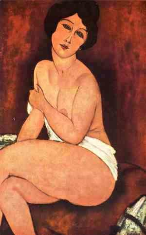 Seated Nude On Divan