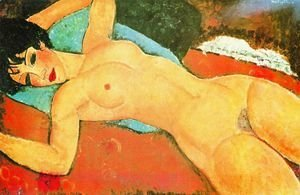 Amedeo Modigliani - Sleeping Nude With Arms Open   Red Nude