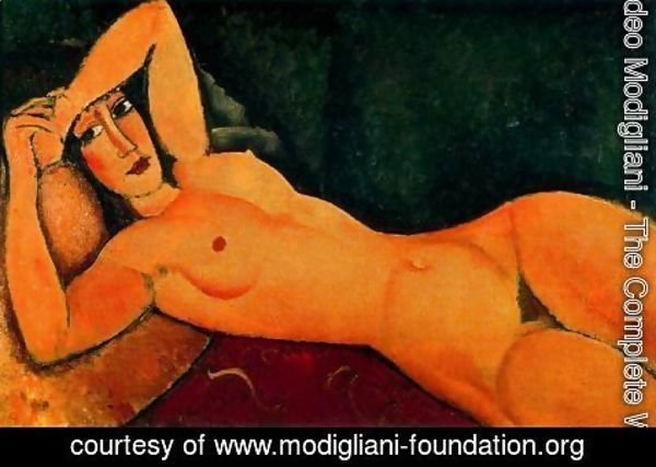 Amedeo Modigliani - Reclining Nude With Left Arm Resting On Forehead