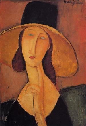 Amedeo Modigliani - Portrait Of Woman In Hat   Jeanne Hebuterne In Large Hat