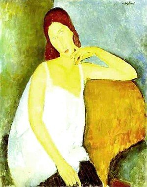 Amedeo Modigliani - Portrait Of Jeanne Hebuterne   Common Law Wife Of Amedeo Modigliani