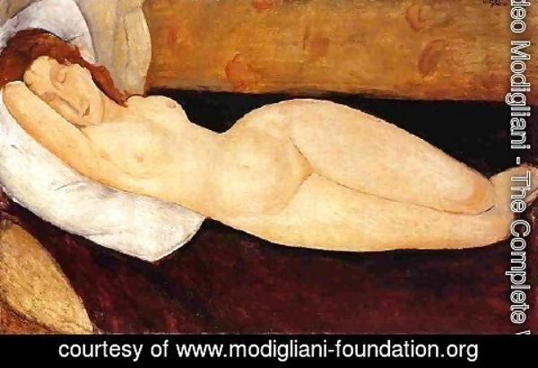 Amedeo Modigliani - Reclining Nude  Head Resting On Right Ar Nude Restin M Aka Nude On A Couch